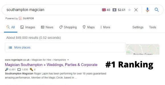 seo consultants southampton results for local magician roger lapin
